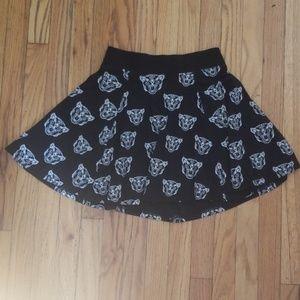Big Cat Print Circle Skirt